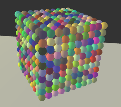 regular cubic assembly of 10x10x10 particles